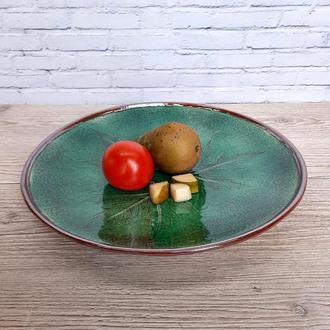 Большое зеленое керамическое блюдо, 34 см диаметр,арт.№22