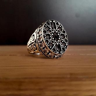 Ювелирный мужские изделия из серебра с синими и черными камнями ручной работы