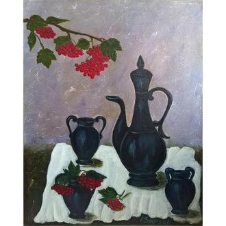 Натюрморт маслом с кувшином на белой скатерти, холст на подрамнике, 50*40 см, оригинальная работа