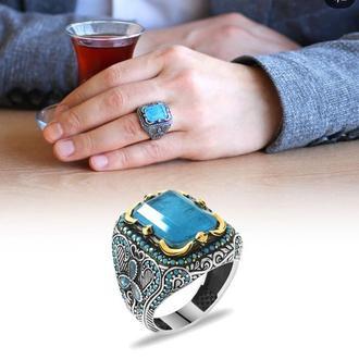 Перстень серебряный с роскошным голубым камнем мужской из серебра ручной работы