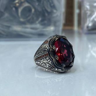Толстое мужское кольцо из серебра 925 пробы ручной работы с красным камнем
