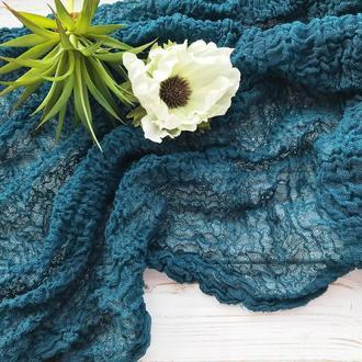 Марля для фотосессий НОВОРОЖДЕННЫХ ,цвет Бирюзово-синий( teal blue)