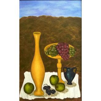 Натюрморт маслом с кувшином, яблоками и виноградом на белой скатерти, холст на подрамнике. 75*45 см