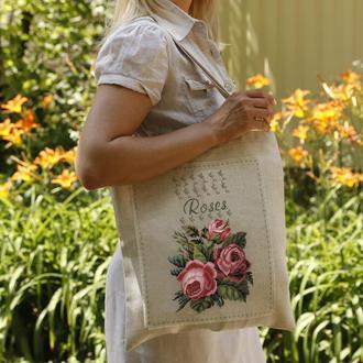 """Набор для создания сумки в технике микровышивки """"Сумка с вышитым декоративным элементом """"Розы"""""""
