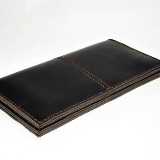 Большой  кожаный кошелек портмоне темно-коричневый