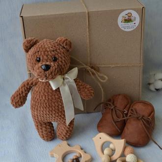 Подарочный набор для малышей, новорожденных, вязаная игрушка+погремушка, мишка