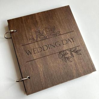 Гостевая книга пожеланий на свадьбу | Размер 21х21 см | Деревянная книга пожеланий