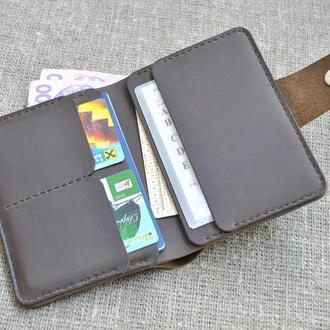 Вертикальный кожаный портмоне шоколадного цвета D07-450