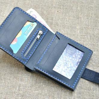 Небольшой брутальный кошелек из натуральной кожи K02-600+blue