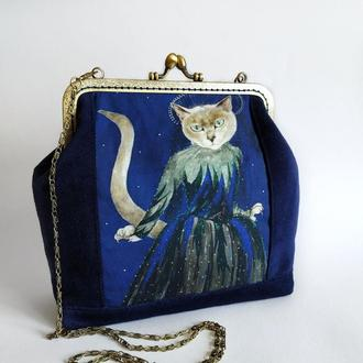 Сумочка на фермуаре, сумка женская, сумка