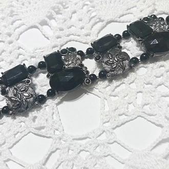 Колье металл черные камни