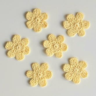 Лимонного цвета вязаный цветок Декор на аксессуары, одежду Аппликации