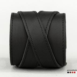 Широкий прошитый кожаный браслет, код 3297ст