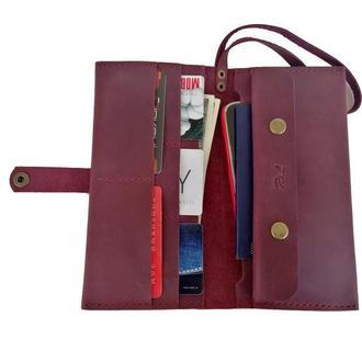 Бордовый кожаный клатч х14 (10 цветов)