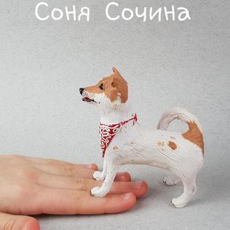 Лайка портретная фигурка статуэтка собака из полимерной глины