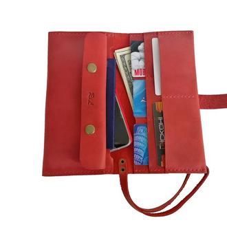 Красный кожаный клатч х14 (10 цветов)