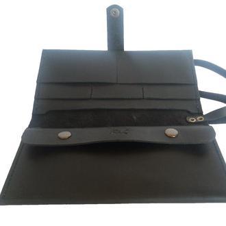 Чёрный кожаный клатч х14 (10 цветов)