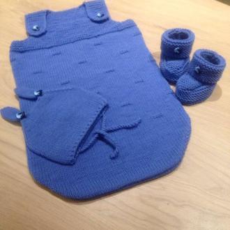 Спальный мешок для новорожденного + шапочка+пинетки