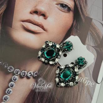 Вечерние сережки ′Emerald′ с кристаллами сваровски