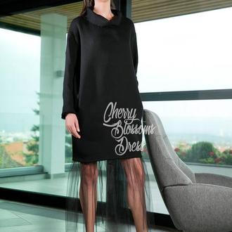 Черное букле миди элегантное коктельное макси платье с длинным рукавом