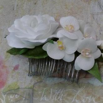 гребешок с орхидеями и розой из фоамирана