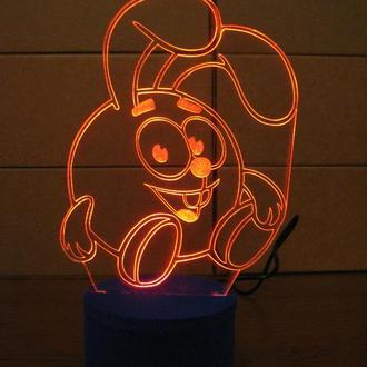 Ночник Крош, светильник LED лампа, смешарики, игрушка, подарок ребенку, интерьер детской, сувенир