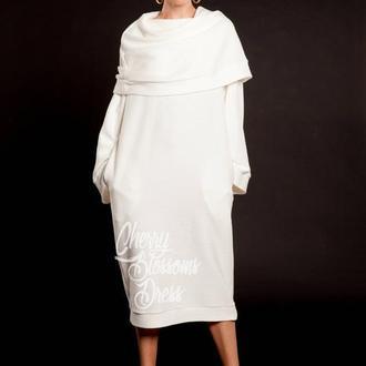 Белое оверсайз зимнее макси повседневное джемпер платье с рукавами