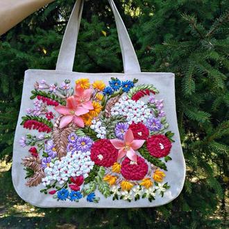 Летняя женская сумка, льняная. Вышивка лентами