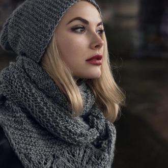 Норвежский платок и шапка крупной вязки
