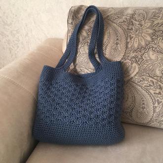 Синяя женская пляжная сумка крючком, сумка шоппер, эко сумка