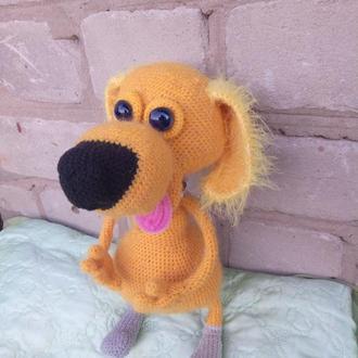Вязаный рыжий пес