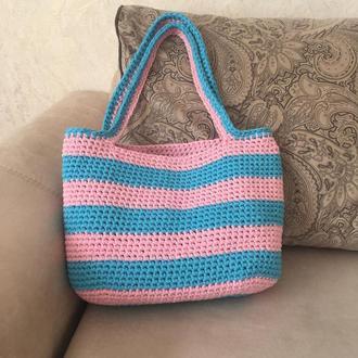 Летняя сумка крючком из трикотажной пряжи, эко сумка, сумка шоппер