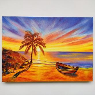 """Картина маслом """"Тропический закат"""", морской пейзаж, масло и холст"""