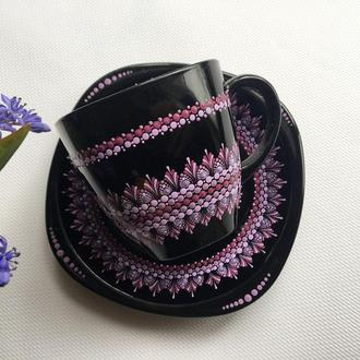 Чашка с блюдцем. Кофейная чашка. Чашка с декором.