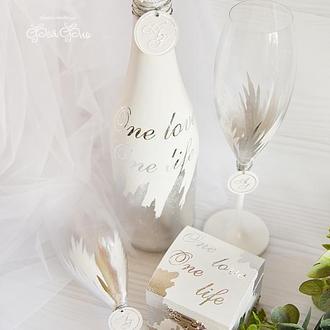 Свадебный набор белоснежный / Срібний набір для весілля / Cepeбряный набор / С надписью