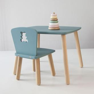 Комплект стол и стул детский 4-7 лет, серо-зеленый