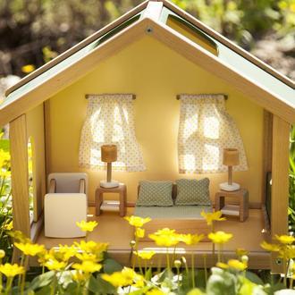 Меблі для лялькового будиночка спальня зелена