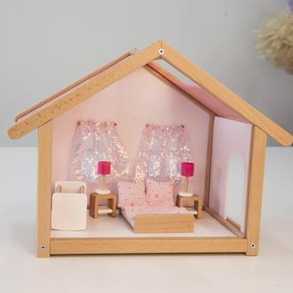 Меблі для лялькового будиночка спальня рожева