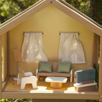 Деревянный мини кукольный домик с мебелью гостиная