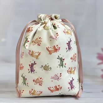 Подарочный мешок зайчики с сердцами, оригинальный маленький подарочный мешочек