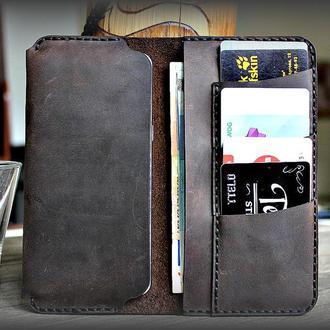 Кожаный чехол IPhone с отсеками для карточек и денег