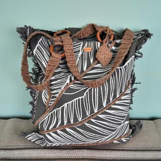 """Пляжна еко-сумка з росписом та вишивкою """"Тропіки"""""""
