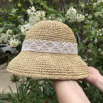 Шляпа из рафии. Летняя соломенная шляпа. Панама от солнца.