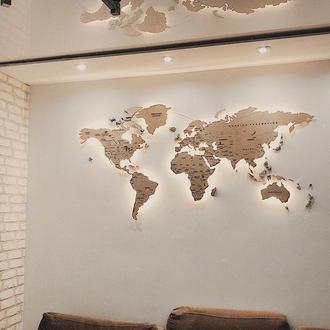 Деревянная карта мира с подсветкой / Карта мира на стену с подсветкой