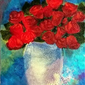 Картина маслом Букет красных роз в вазе, холст на подрамнике, 40*20 см