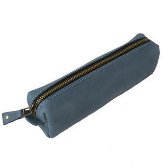 Кожаный пенал. 02010/голубой