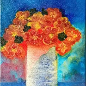 Натюрморт Желтые цветы в вазе, холст на подрамнике, 40*20 см
