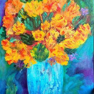 Натюрморт маслом Букет желтых цветов в вазе, холст на подрамнике, 75*45 см