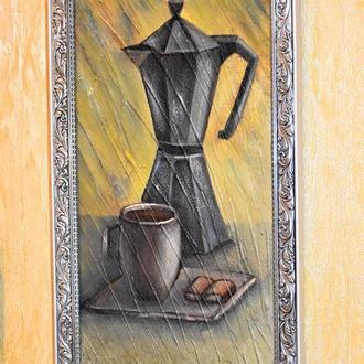 Кава з шоколадкою, об'ємна техніка, 20х40см, Картина у рамі