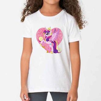 Детская футболка с принтом Сумеречная Искорка на сердце, Дружба – это Чудо Push IT